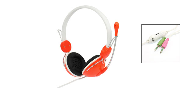 PC Laptop Skype Online Chatting Orange Red Adjustable Headset w Mic