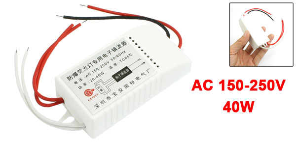 AC 150-250V 40W Electronic Ballast White for Fluorescent Lamp Light
