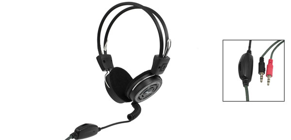 PC Laptop Skype Online Chatting Black Adjustable Headset Mic Headphone