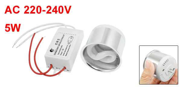 AC 220-240V 5W Fluorescent Lamp Energy Saving Light White w Ballast