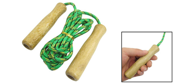 7.6ft Long Exercise Wooden Grip Green Yellow Nylon Jumping Skipping Rope