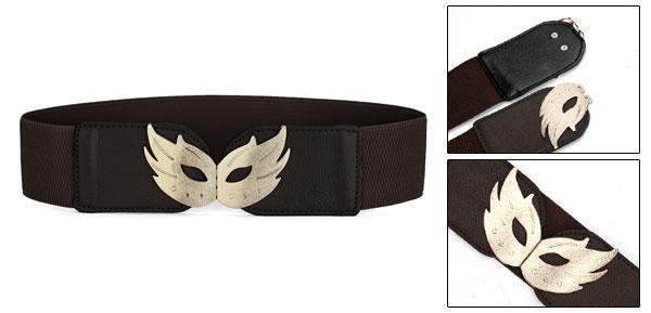 Dark Brown Mash Shaped Interlocking Buckle Stretchy Belt for Ladies