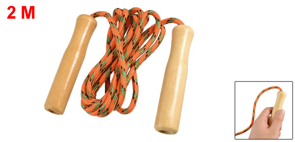 Wood Handle Orange Green Black Nylon Coated Jumping Skipping Rope 6.5Ft