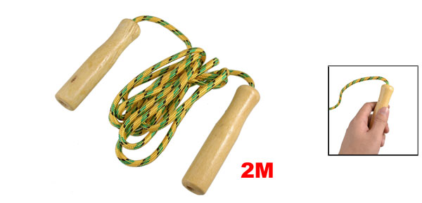 Wood Handle Yellow Green Black Nylon Coated Jumping Skipping Rope 2M