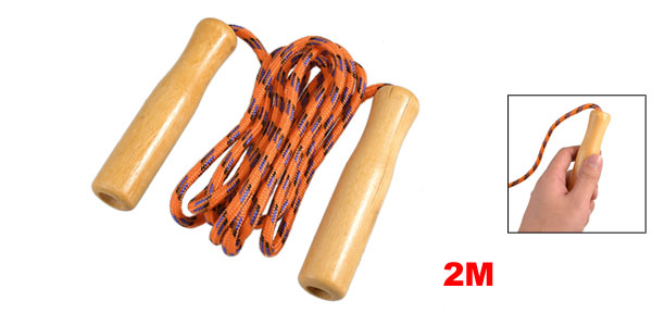 Fitting Fitness Wood Handle Orange Blue Black Jumping Skipping Rope 2M