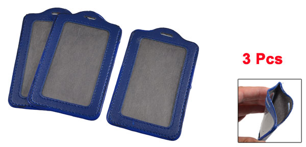 3 Pcs Company Blue Faux Leather Vertical Staff Name Badge ID Holder