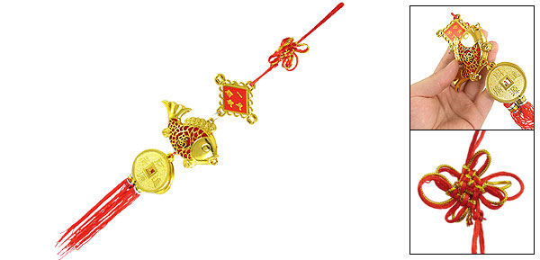 Auto Car Hanging Decoration Gold Tone Fish Pendant Chinese Knot Ornament