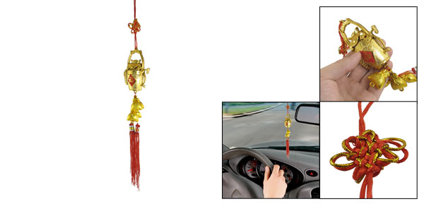 Auto Car Hanging Decoration Gold Tone Bucket Pendant Chinese Knot Ornament