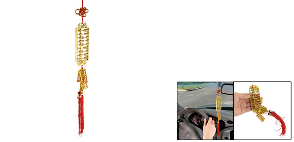 Gold Tone 5-Abacus Pendant Red Tassel Chinese Knot Ornament for Car