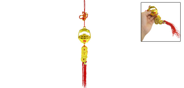 Auto Car Hanging Decor Gold Tone Copper Coin Pendant Chinese Knot Ornament