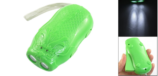 Hand Press Powered Cartoon Dragon 2 LED Flashlight Torch Green w Gray Strap