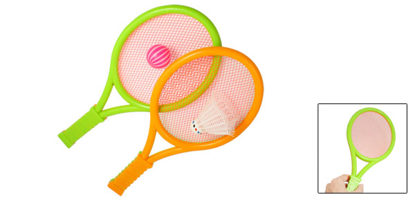 Children Pair Plastic Badminton Racket w Shuttlecock + TableTennis Ball