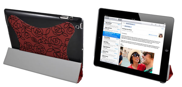 Red Flower Faux Leather Tablet Stand Case Folio Cover for Apple iPad 2