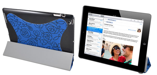 Floral Blue Faux Leather Stand Case Folio Cover Pouch for iPad 2