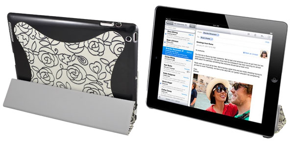 White Floral Faux Leather Folio Stand Case Cover for iPad 2 2th Gen