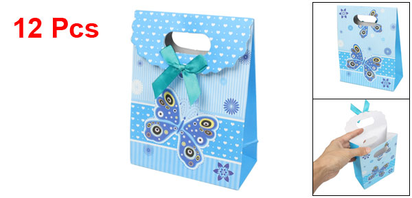 12 Pcs Blue Butterfly Floral Christmas Folding Paper Gift Bag
