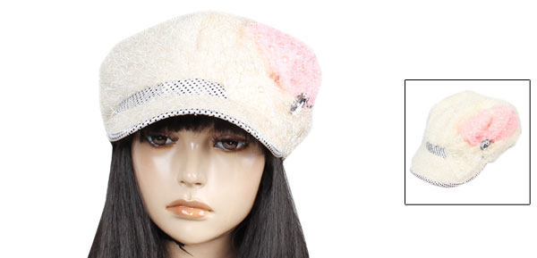 Lady Newsboy Style Dots Pattern Faux Pearl Decor Casual Cap Hat Beige