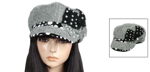 Lady Newsboy Style Dots Pattern Faux Pearl Decor Casual Cap Hat Gray Black