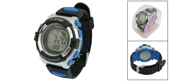 Soft Plastic Band LED Digital Date Alarm Stopwatch Sports Watch Wristwatch