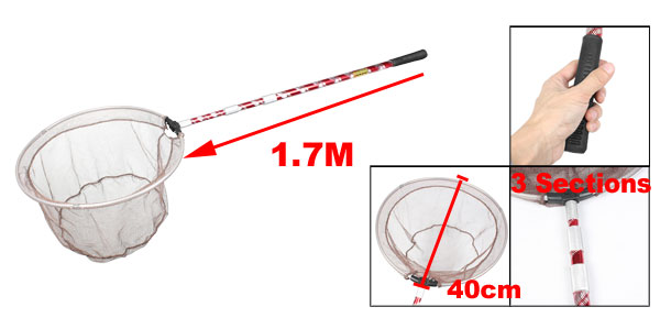 1.7M Red 3 Sections Adjustable Handle Round Fishing Landing Net