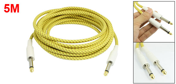 5M 16.4 Ft 6.3mm Straight Jack Braided Electric Guitar Cable Yellow Khaki
