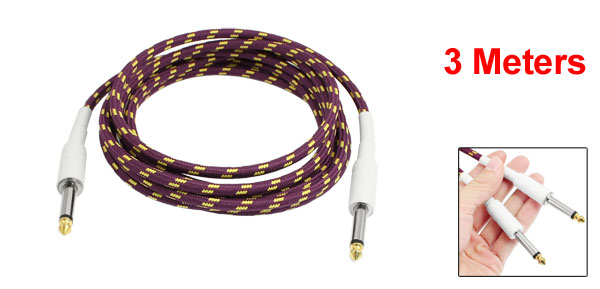 3 Meters 6.3mm Straight Jack Braided Electric Guitar Cable Yellow Purple