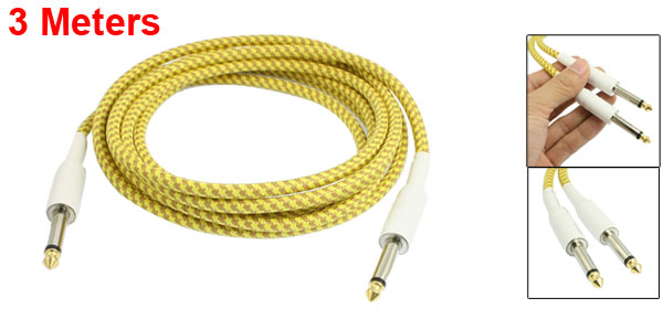 3 Meters 6.3mm Straight Jack Braided Electric Guitar Cable Yellow Khaki