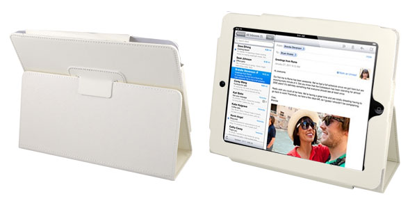 Magnetic Flip Off White Faux Leather Stand Case Folio Cover for iPad 2 3