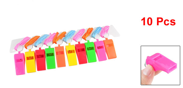 Assorted Color Neck String Match Basketball Plastic Referee Whistles 10 Pcs