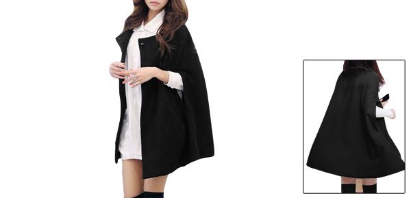 Women Round Neck Slit Sleeves Worsted Poncho Coat Black S