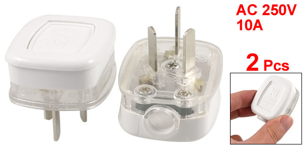 2 Pcs White Clear Housing AU 3 Pins Power Cord Plug Connector Head AC 250V 10A