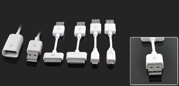 White 5 in 1 USB 2.0 Sync Cable Set for Apple iPhone 3G 3GS 4 4G 4GS