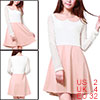 Women Doll Collar Mesh Panel Contrast Color Above Knee Dress Light Pink XS