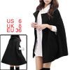 Women Round Neck Slit Sleeves Worsted Poncho Coat Black S