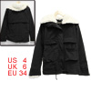 Ladies Black Funnel Neck Long Sleeve Fleece Lined Winter Coat S