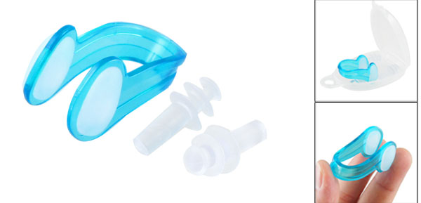 Swimming Safeguard Soft Silicone Earplugs Plastic Nose Clip Set