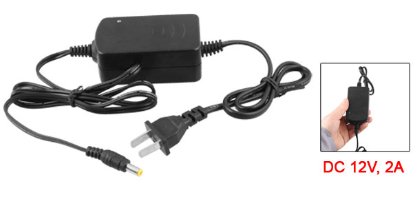 AC to DC 12V 2A US 2 Terminals Plug Power Supply Adapter for Monitor