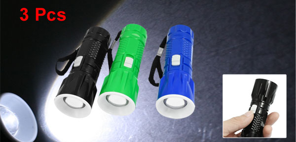 Plastic Textured Shell White 1 LED Mini Flashlight Torch 3 Pcs