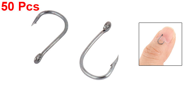 2# Metal Mini Barb Eyeless Fish Hooks Fishing Tackle 50pcs