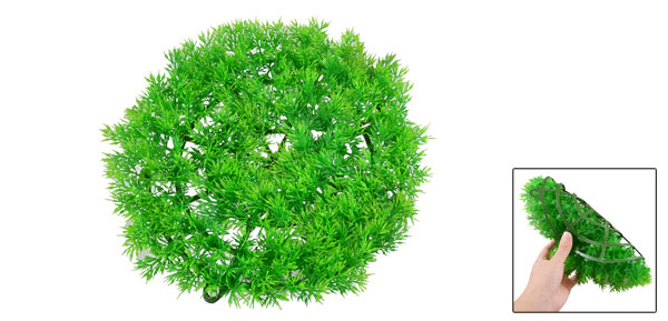 27cm Dia Round Man-made Lawn Style Green Ornament for Aquarium