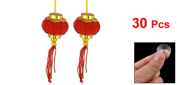 Gold Tone Red Bead String Suction Cup Hanging Ornament Chinese Lantern 30 Pcs