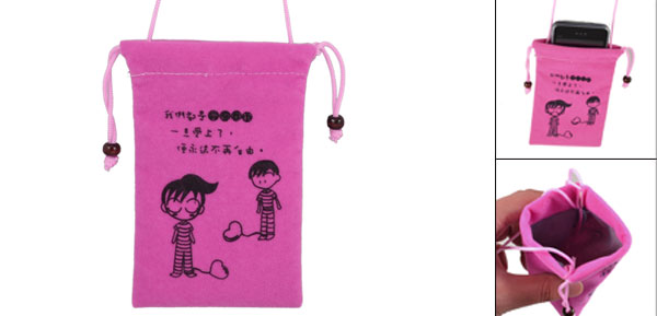 Drawstring Closure Cartoon Kids Print Fuchsia Velvet Neck Strap Phone Pouch
