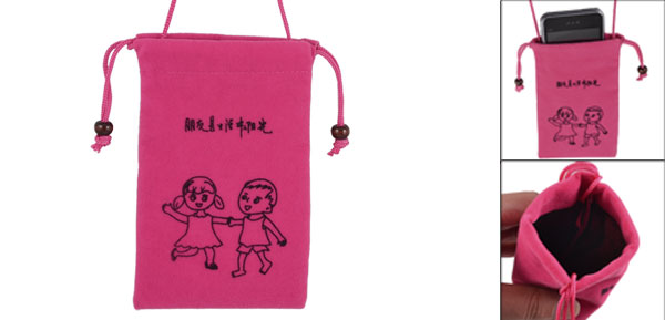 Drawstring Closure Cartoon Kids Pattern Magenta Velvet Neck Strap Phone Pouch
