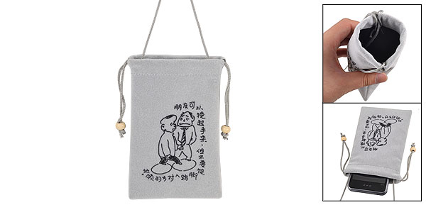 Gray Black Chinese Characters Pattern Velvet Neck Strap Phone Protecting Pouch