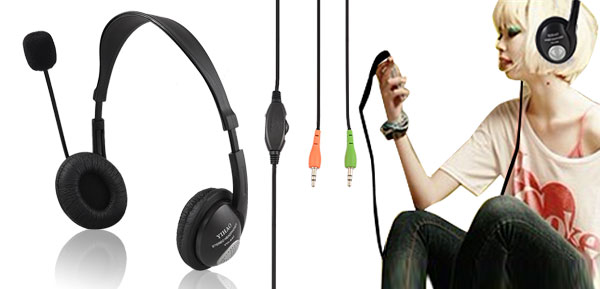 Black 3.5mm Earphone Adjustable Headphone with Microphone MIC VOIP Headset Skype