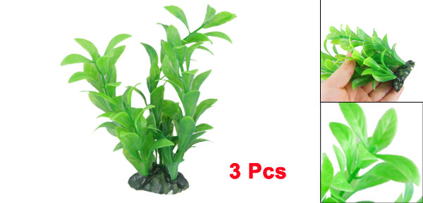 3 x Ceramic Base Manmade Green Plastic Plant 5.9