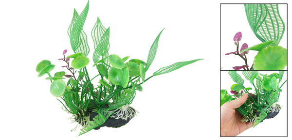 Resin Base Green Plastic Plant Grass Ornament 7.5