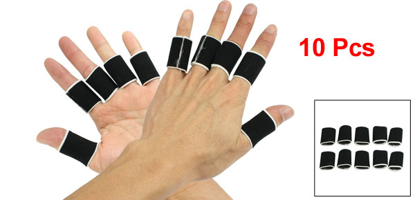 10 Pcs Volleyball Sports Protecting Neoprene Finger Sleeve Support Black