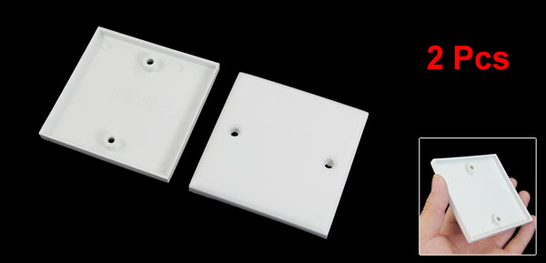 Home Office Universal Base Box Wall Mount Plate White 84mm x 84mm x 8mm 2 Pcs