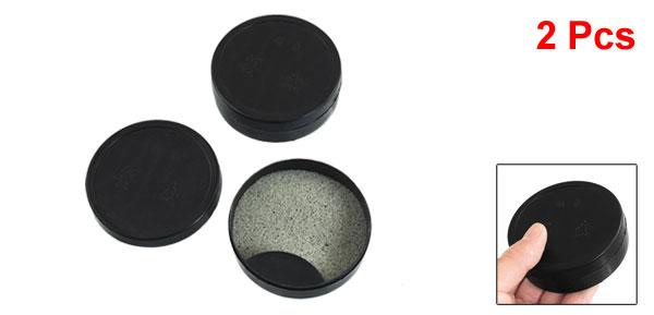 Round Shaped Black Plastic Ink Pigment Storage Case Box 2 Pcs